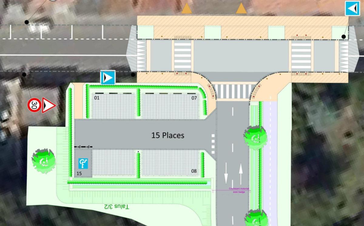 Nouvelle piscine : création d'un carrefour et d'un parking rue de la gare