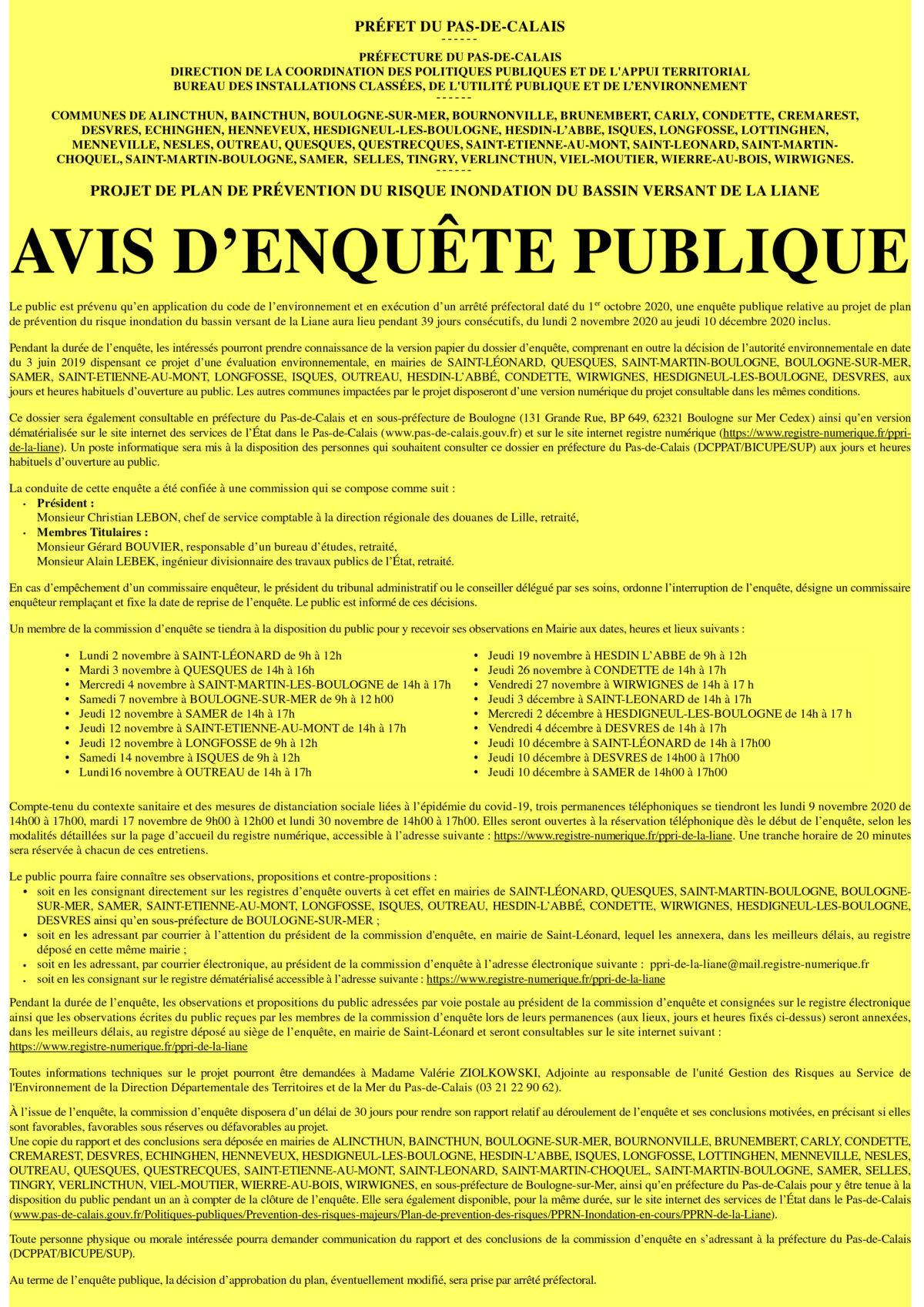 Plan de Prévention Risques Inondations de La Liane
